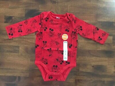 NWT Boys Disney Jumping Beans Mickey Mouse Red Bodysuit Size 12 Months