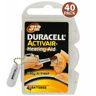 Duracell Size 312 Hearing Aid Battery, 10 x 4 Packs Closeout Sale (40 Batteries)