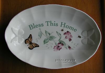 """Lenox Butterfly Meadow China 11"""" Bless This Home Tray Or Shallow Dish"""