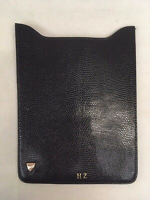 Aspinal of London Leather Navy Lizard & Red Suede iPad Mini Case. HZ Embossed.