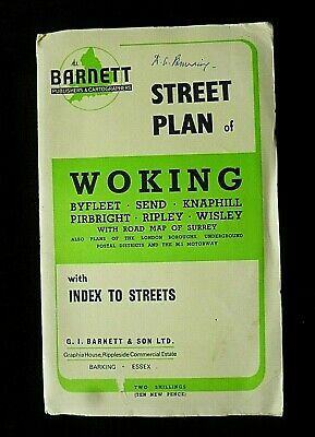 WOKING Street Plan Map BARNETT 1971? With Street index & Other Plans & Adverts