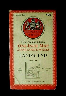 LAND'S END MAP 1950's ORDNANCE SURVEY  Sheet 189 - One Inch Contoured Map(Cloth)