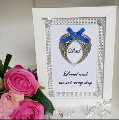 Dad memorial hand crafted picture frame gift Loved and missed every day keepsake