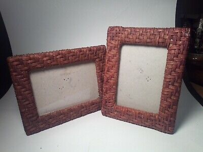 Lot of 2 Vtg Wicker Rattan Woven wooden Picture Photo Frame Country Decor