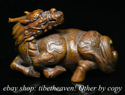 "3.6"" Old Chinese Boxwood Wood Carved Dragon Kylin Qilin Beast Statue Sculpture"