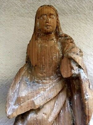 """Antique Wood Carved Whitewashed MADONNA VIRGIN MARY Statue Altar Piece 10.25"""" H"""