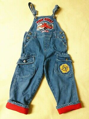 Little Rebel Boys 3T Blue Denim Fire Chief Truck Cargo Overalls