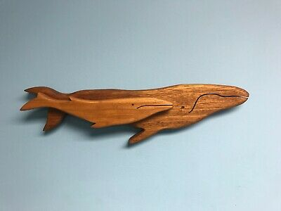 Very Large Carved Wood Whale Wall Art White Crackled Wood Finish