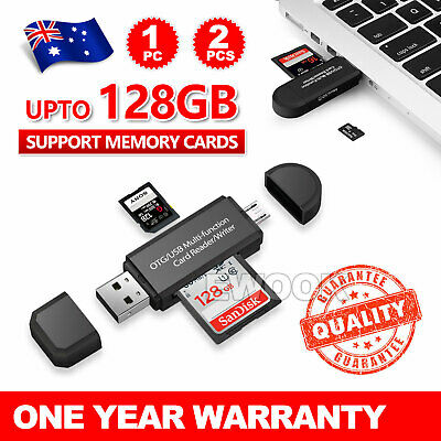 Micro USB OTG to USB 2.0 Adapter SD TF Micro Card Reader For PC Mobile Phone AU