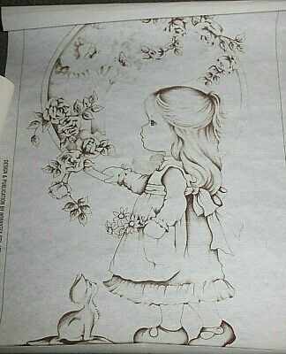 Hobbytex No: 4160 - Daydreamers - Girl & Cat  size:  50cm x 34cm with chart
