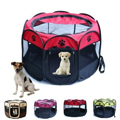 Portable Pet Cat Dog Playpen Tent Exercise Fence Kennel Cage Soft Crate House CA