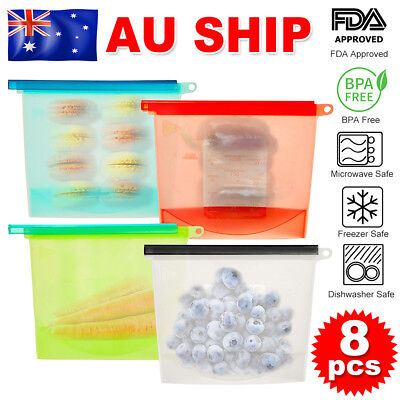 8x Reusable Silicone Seal Bags Food Storage Preservation Airtight Containers