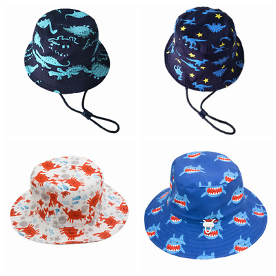Kids Boys Girls 100% Cotton Bucket Hat UPF 50+ Adjustable Sun Cap Swimming Soft
