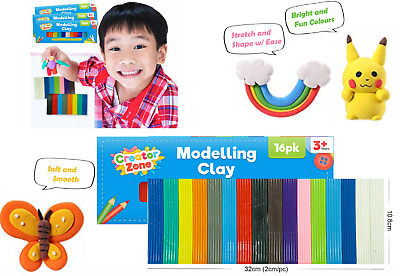 Kids Modelling Clay Set Plasticine 16 Pack Non Toxic Play Craft & Create 3+Years