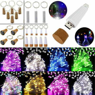 1-6PCS 2M 20 LED Usb Solar Wine Bottle Fairy String Light Cork Starry Night Xmas