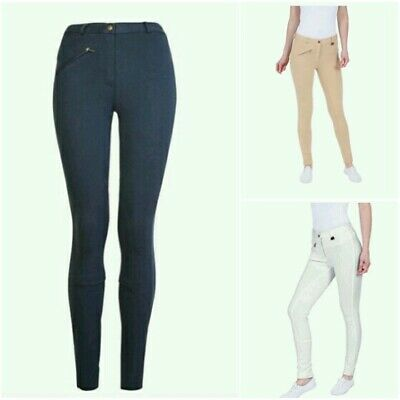 + GS Equestrian Womens/Ladies Girls Jodhpurs Plain Beige Riding Navy 24/28  5:45