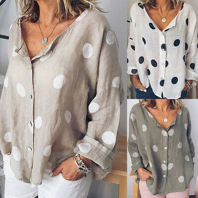 Plus Size Womens Polka Dot Long Sleeve Blouse Baggy T Shirts Casual Tunic Tops