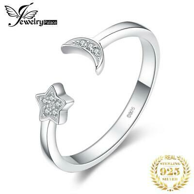 JewelryPalace Moon Star CZ Pave Cubic Zirconia Adjustable Open 925 Sterling Sil