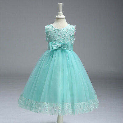 Girls Kids Dress Bridesmaid Baby Flower Bow Party Wedding Princess Tutu Dresses