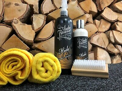 Auto Finesse Hide Leather Cleaner and Conditioner + Microfibre & Brush Kit