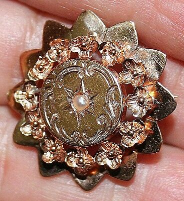 ANTIQUE VICTORIAN FRENCH ROSE 18k GOLD PEARL FLOWERS HAND MADE BROOCH PIN c1880