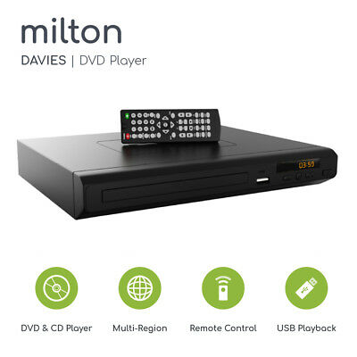 Compact DVD Player Milton Davies HDMI Upscaling USB Multi Region & HDMI Cable