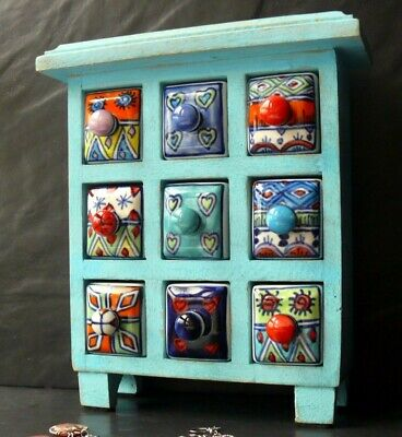 Duck-egg blue small painted ceramic drawer chest