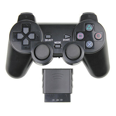 New Wireless Black Dual Shock Controller for PS2 PlayStation 2 Joypad Gamepad