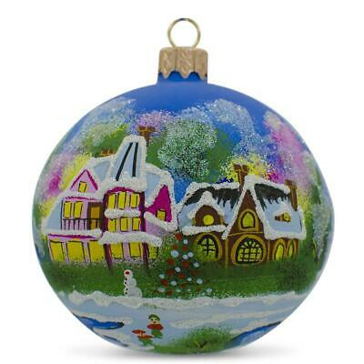 "3.9/"" Winter Village Church Christmas Glass Ball Ornament Handmade in Russia"