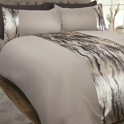Sienna Aurora Velvet Stripe Panel Duvet Cover with Pillowcase Bedding Set Silver