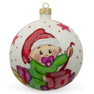 A045 Beige Cream Swirl Glass Can Open Ball Opening Bauble Christmas Ornament