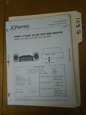 JCPenny JC Penny 1203 Service Manual Original Repair Book Stereo 8 Track