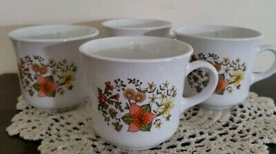 Corelle by Corning ~ Set of Four (4) ~ Indian Summer Pattern ~ Coffee Mugs/Cups