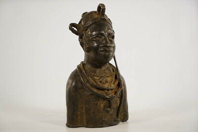 Engaging Benin Bronze Bust 8"