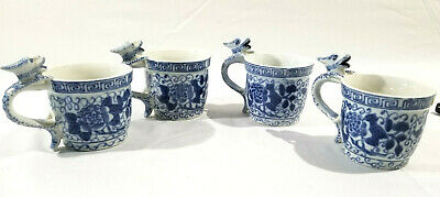 Four (4) VTG Handpainted Chinese Blue & White Dragon Handle Porcelain Mug Small