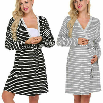 Pregnant Womens Maternity Pajamas Nightdress Nursing Breastfeeding Wrap Dresses