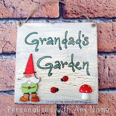 Outdoor Garden Plaque. Dads Grandad's Gnome Personalised Sign. Wooden Name Plate