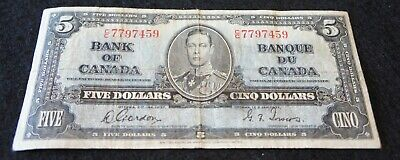 1937 Bank of Canada 5 Dollar Note in Fine Condition NICE OLD Collectible Note!
