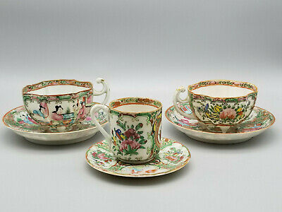 3 Antique Rose Medallion Chinese Porcelain Tea Cup & Saucer - Export PC 1850