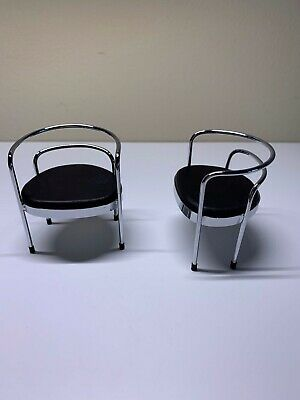 Mid-Century Modern Chrome Miniature Office Chairs Set 1:12 Scale Dollhouse