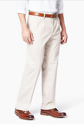 Dockers Mens Easy Khaki Classic Fit Pleated Stretch Pants 32,34,36,40,42 #50000