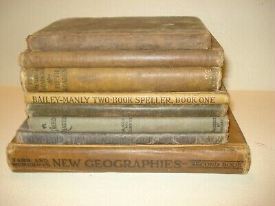 ANTIQUE SCHOOL Book Lot ENGLISH Grammar READERS Spelling MUSIC Geography Sadlier