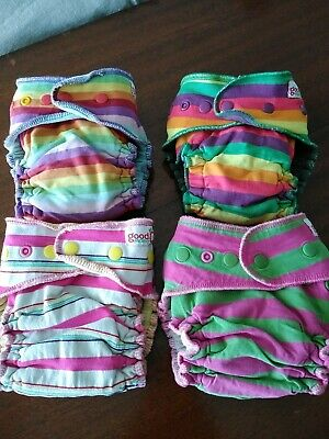 Goodmama birth to toddler cloth fitted diapers one size super stripey lot of 4