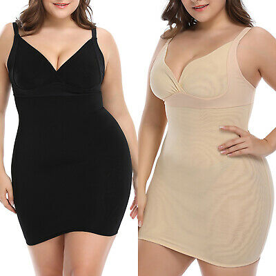 Womens Plus Size Sleeveless Bodycon Dress Slim Casual Shapewear Strappy Corset