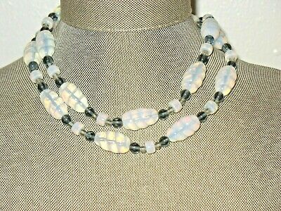 Antique Art Deco French Or Czech Opal Opalescent Glass Bead Sterling Necklace