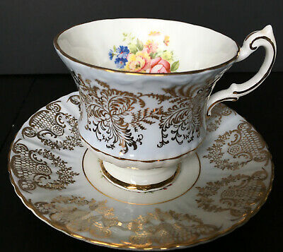 Vintage Paragon Light Blue With Gold Filigree And Flowers Cup And Saucer