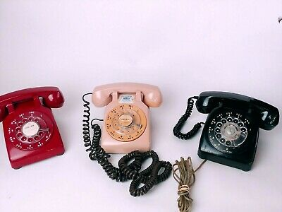 Vintage Red black tan phone Rotary Desk Phone Office desk Home decor Room pick 1