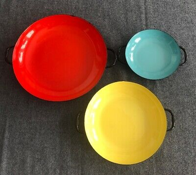 Set 3 Vintage 1950's/1960's Lantoni Enamel Sizzling Servers Made in Italy