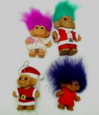 TROLLS vintage lot of 4 all unique with original clothes 3 and 4 inch         60