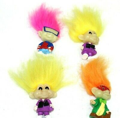 TROLLS vintage lot of 4 all unique with molded on clothing 3 in. great condition